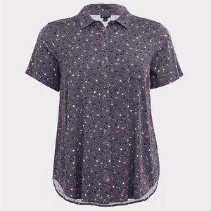 Arrow Print Challis Button Down Shirt Torrid